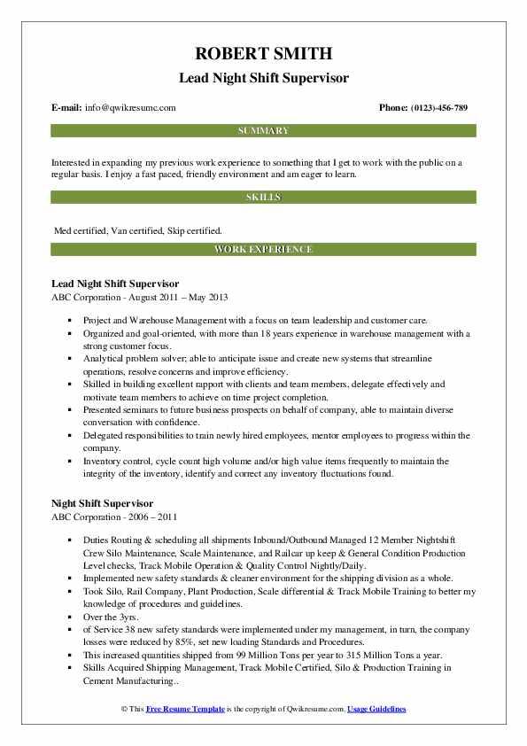 Lead Night Shift Supervisor Resume Format