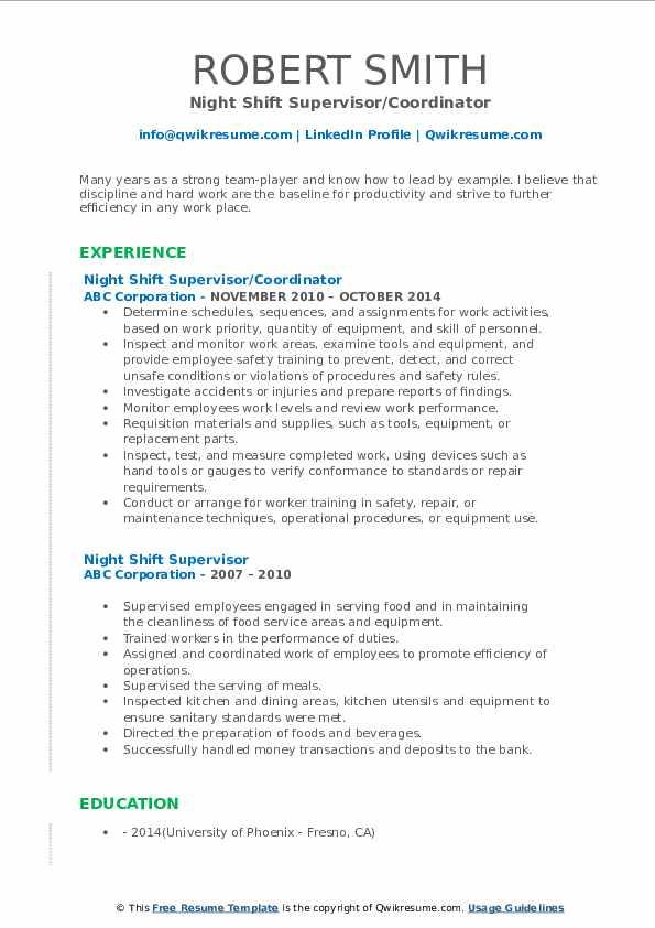 Night Shift Supervisor/Coordinator Resume Template