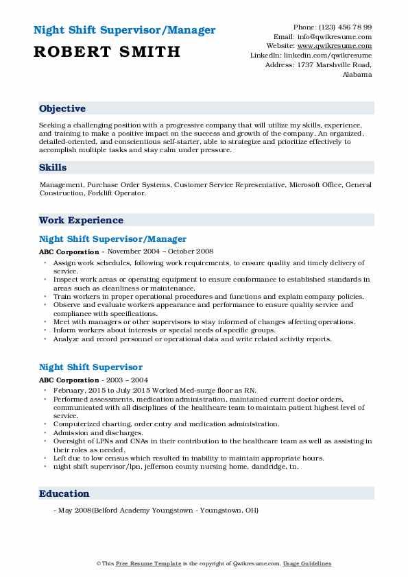 Night Shift Supervisor/Manager Resume Format