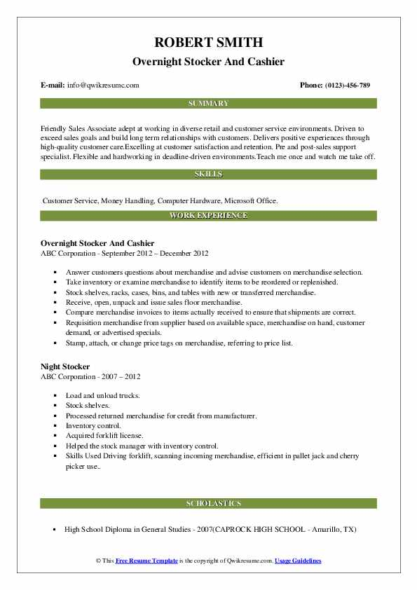 Overnight Stocker And Cashier Resume Template