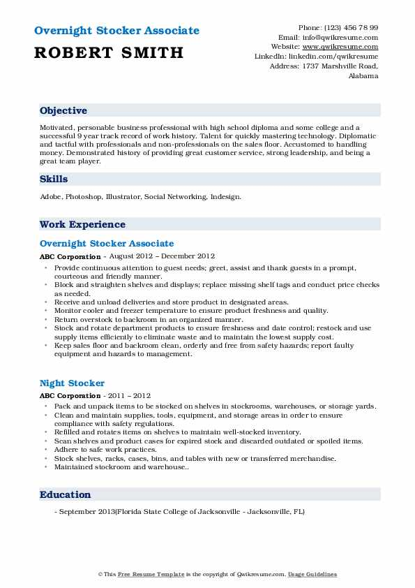 Overnight Stocker Associate Resume Format