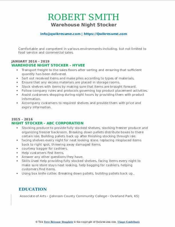 Warehouse Night Stocker Resume Example