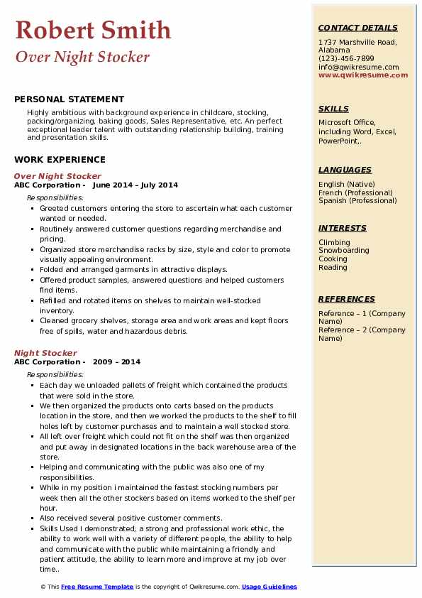 Over Night Stocker Resume Sample