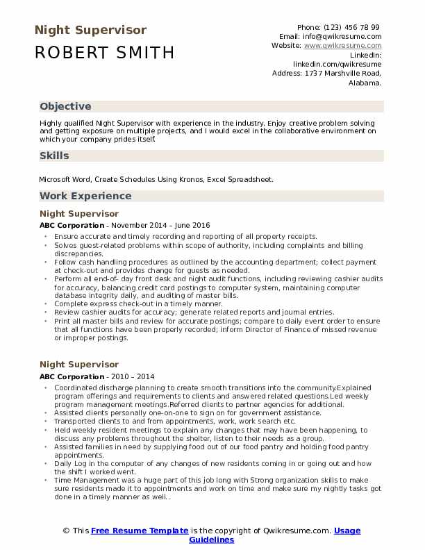 Night Supervisor Resume Example