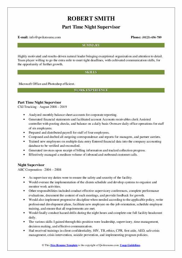 Part Time Night Supervisor Resume Format
