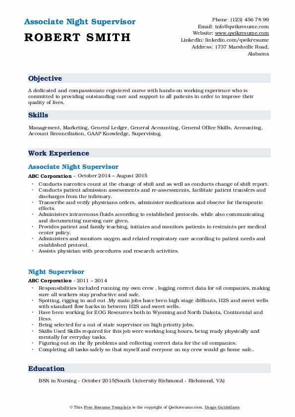 Associate Night Supervisor Resume Model