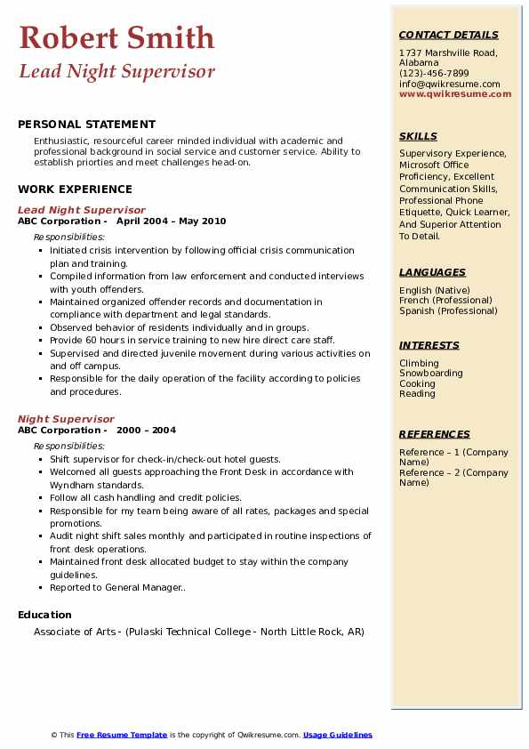 Lead Night Supervisor Resume Model