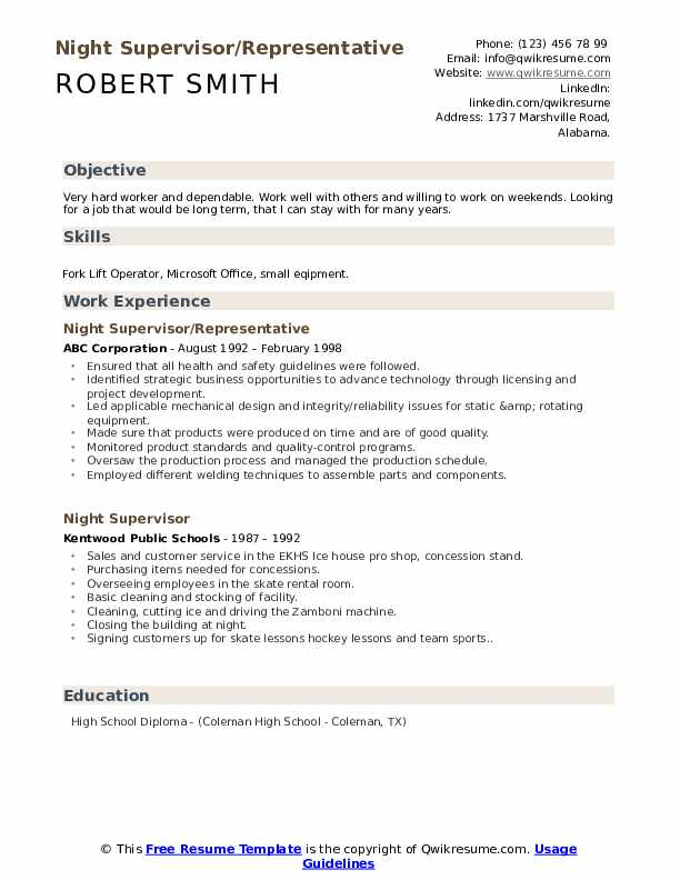 Night Supervisor/Representative Resume Template