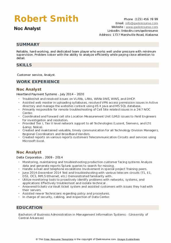 NOC Analyst Resume example