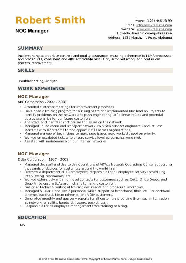 NOC Manager Resume example