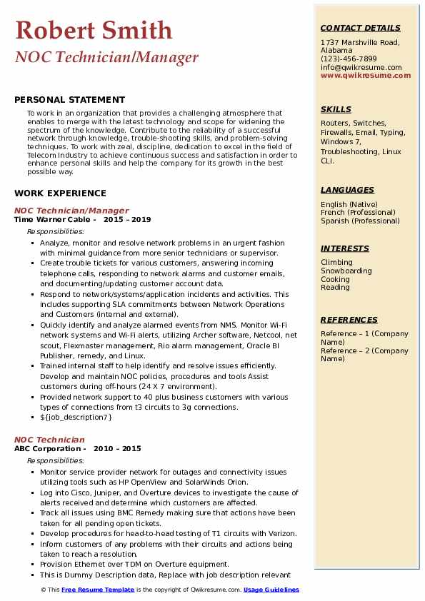 NOC Technician/Manager Resume Sample