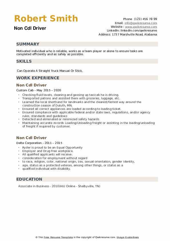 Non Cdl Driver Resume example