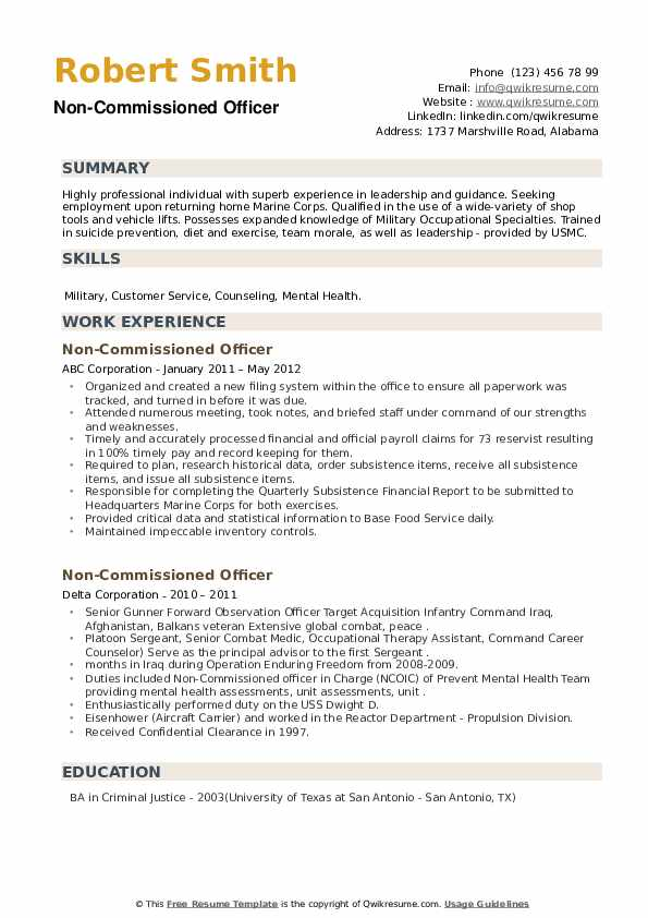 Non-Commissioned Officer Resume example