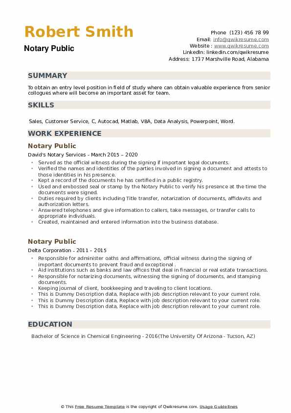 Notary Public Resume example