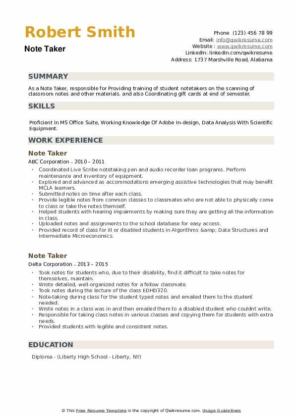 Note Taker Resume example