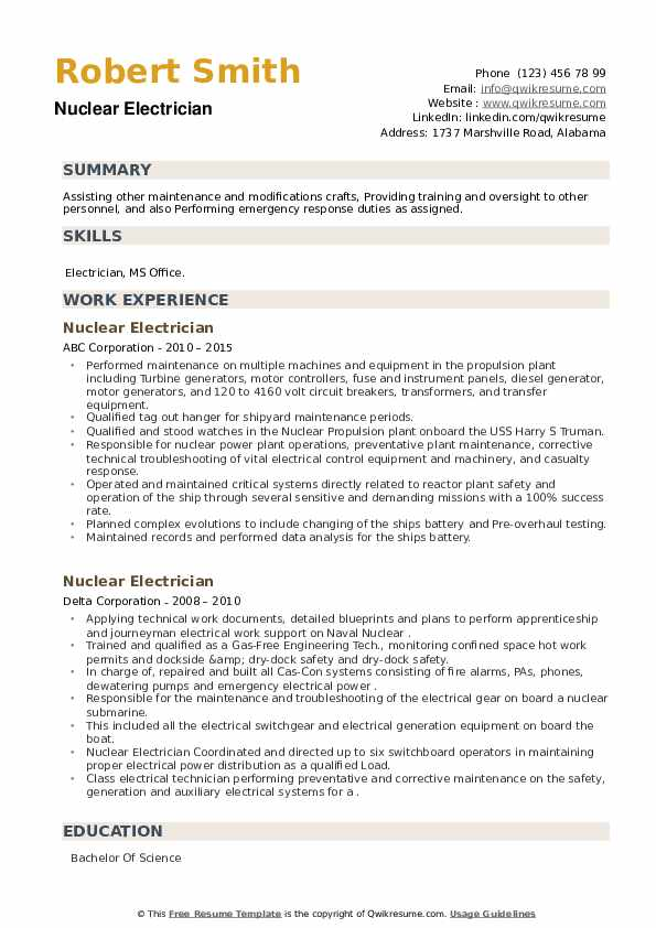 Nuclear Electrician Resume example