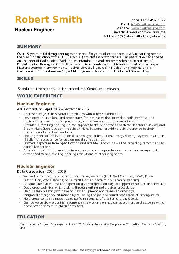 Nuclear Engineer Resume Samples Qwikresume