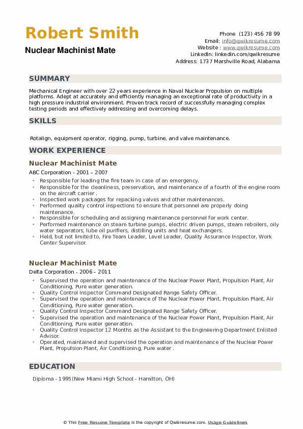 Nuclear Machinist Mate Resume example