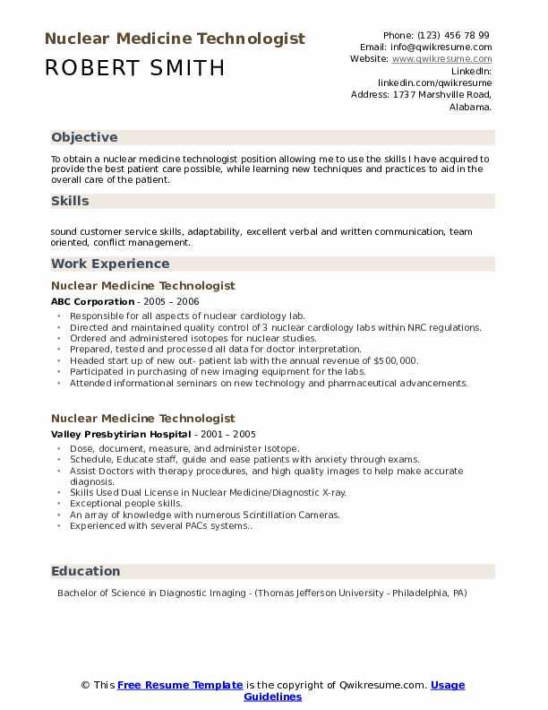 Nuclear Medicine Technologist Resume Model