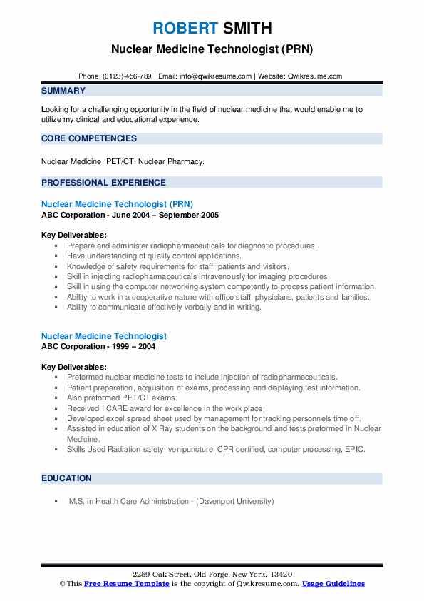 Nuclear Medicine Technologist (PRN) Resume Model