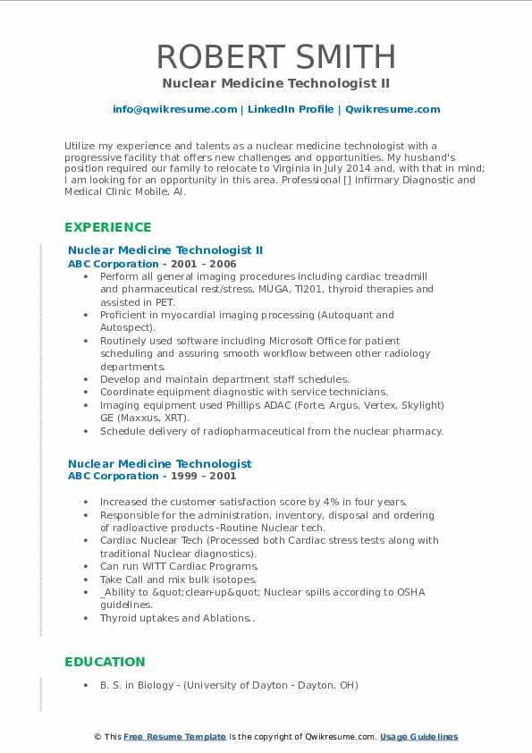 Nuclear Medicine Technologist II Resume Model