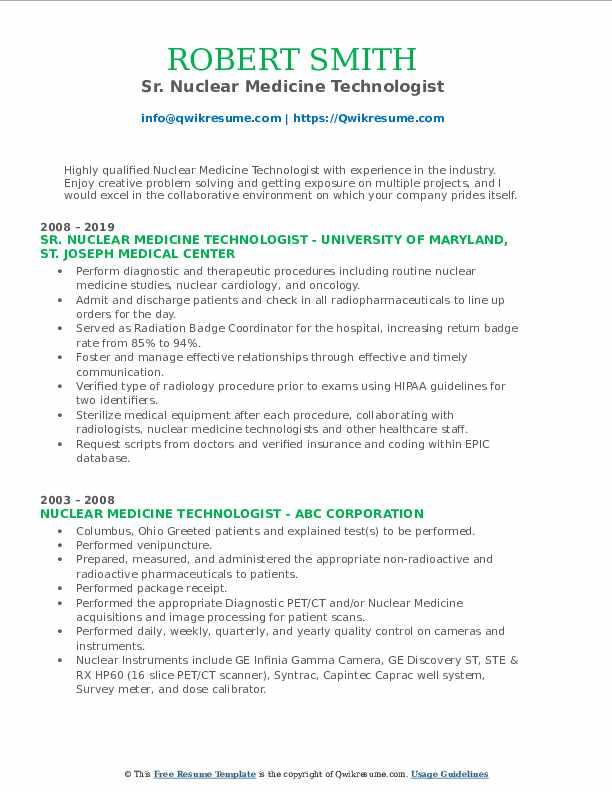 Sr. Nuclear Medicine Technologist Resume Model
