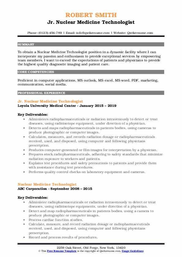 Jr. Nuclear Medicine Technologist Resume Model