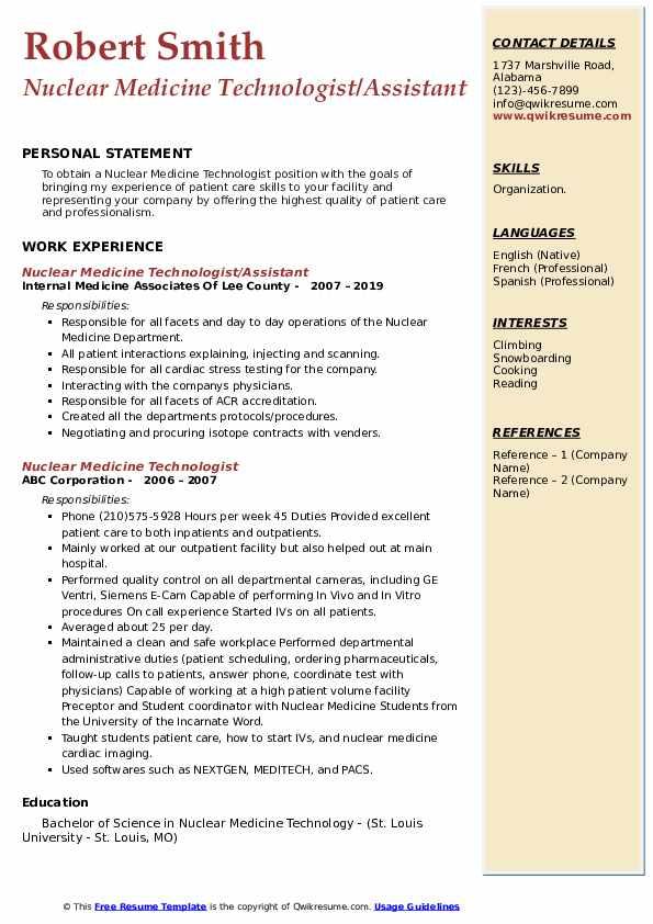 Nuclear Medicine Technologist/Assistant Resume Model