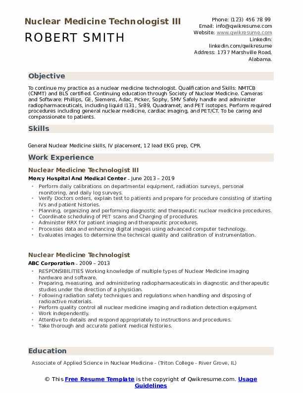 Nuclear Medicine Technologist III Resume Format