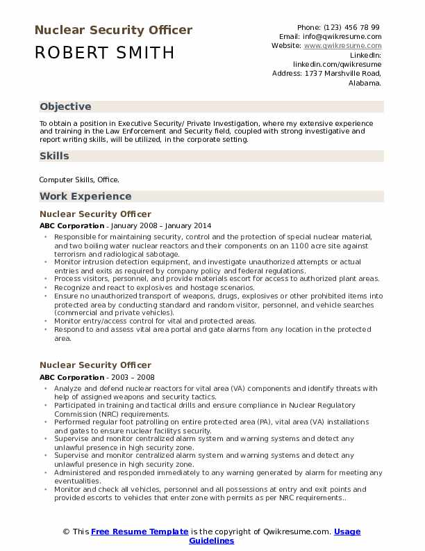 Nuclear Security Officer Resume Template