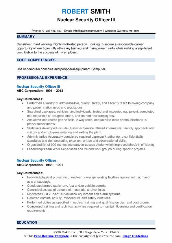 Nuclear Security Officer III Resume Model