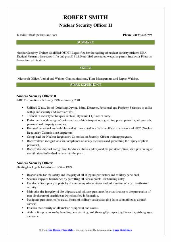 Nuclear Security Officer II Resume Model