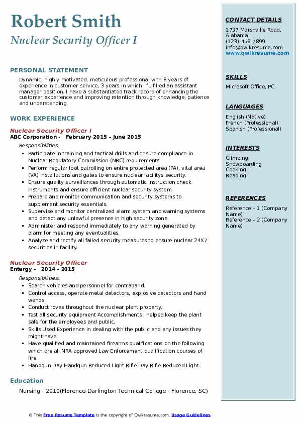Nuclear Security Officer I Resume Format