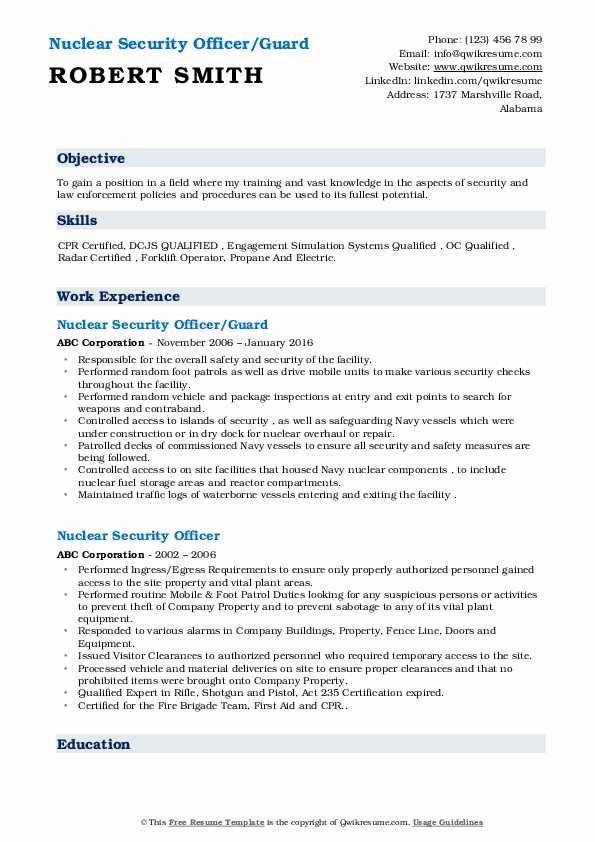 Nuclear Security Officer/Guard Resume Template