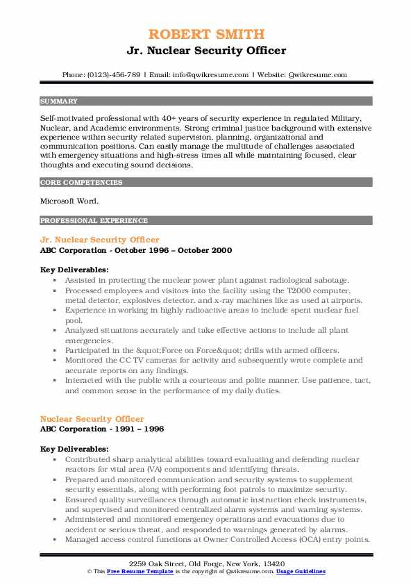 Jr. Nuclear Security Officer Resume Model