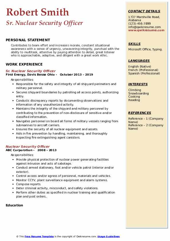 Sr. Nuclear Security Officer Resume Format