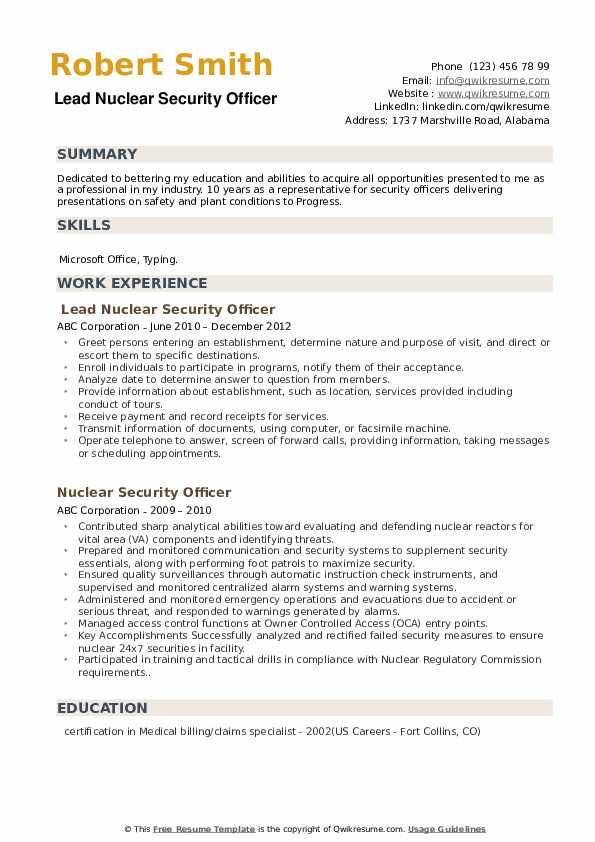 Lead Nuclear Security Officer Resume Model