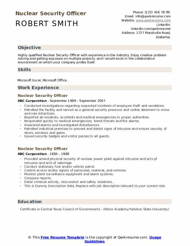 Nuclear Security Officer Resume example