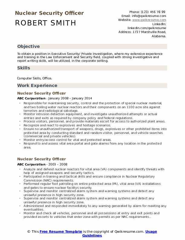Loss Prevention Detective/Technician Resume Template