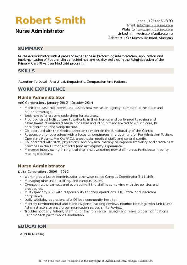 Nurse Administrator Resume example