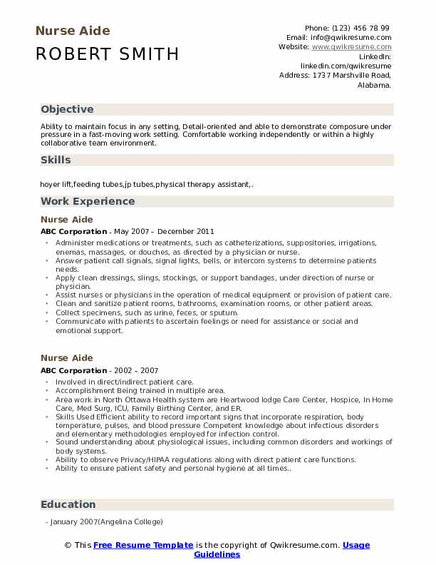 Nurse Aide Resume Samples | QwikResume