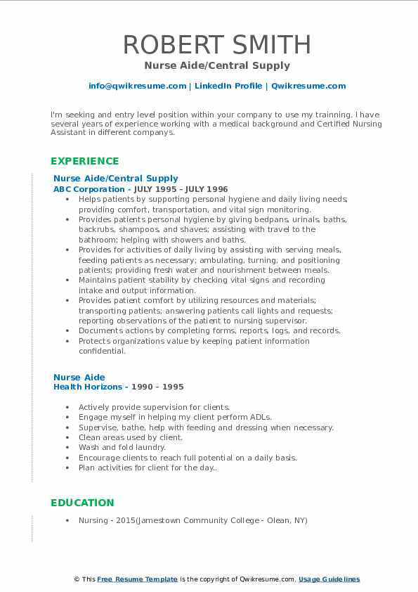nurse aide resume samples