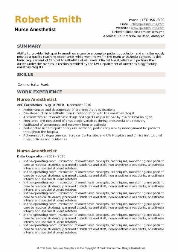 Nurse Anesthetist Resume example