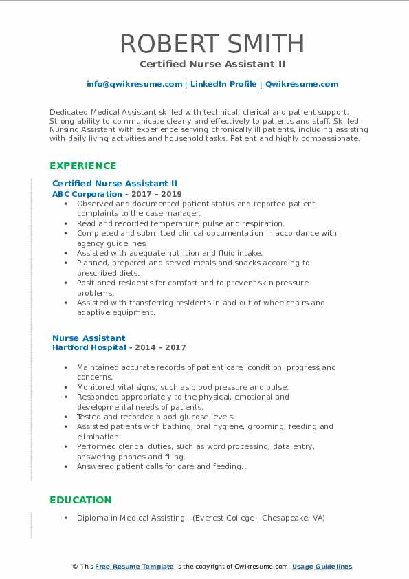 nurse assistant resume samples