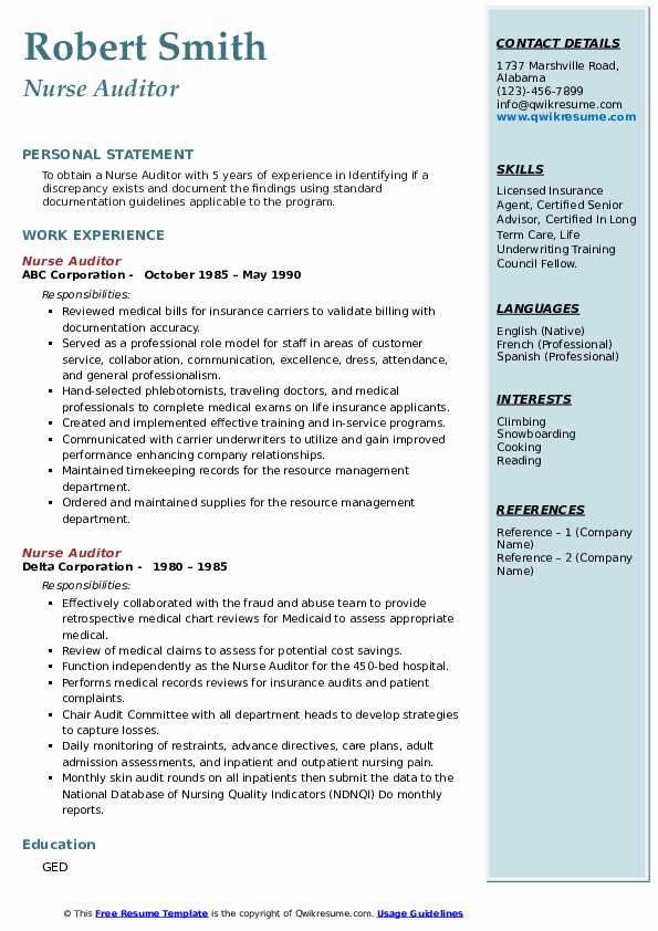 nurse auditor resume samples  qwikresume
