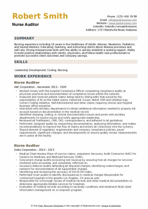 Nurse Auditor Resume example