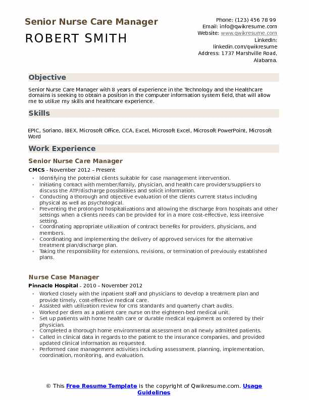 nurse care manager resume samples