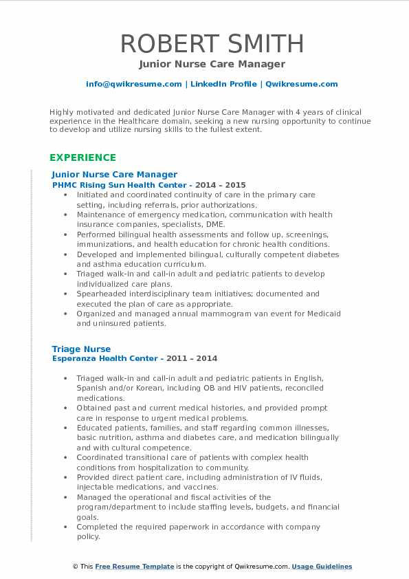 Junior Nurse Care Manager Resume Template