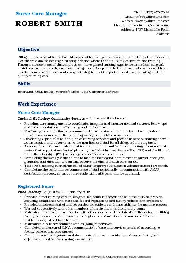Nurse Care Manager Resume Format