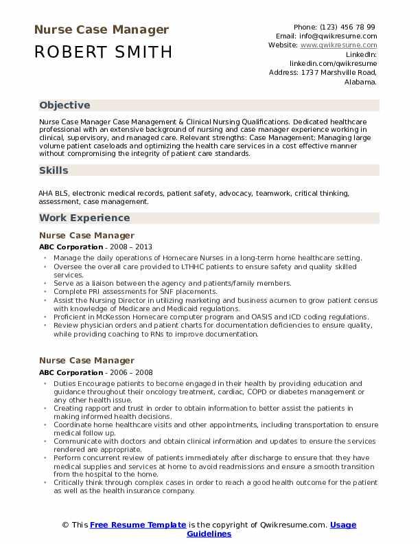 Nurse Case Manager Resume Samples | QwikResume